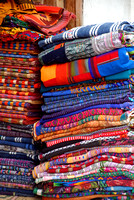 Handmade linens on the street for market Antigua Guatemala